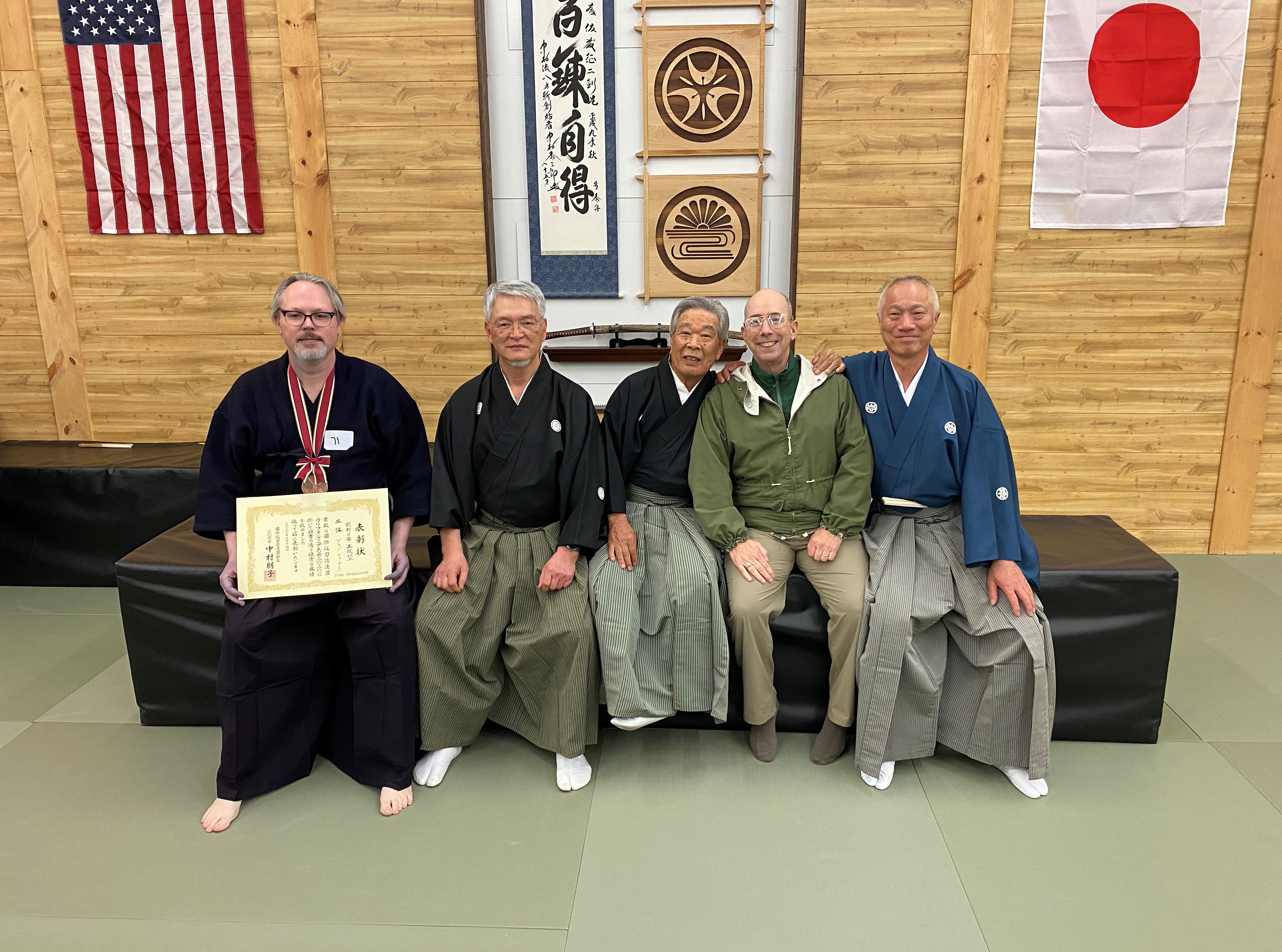 Post-taikai photo. Congrats Tex on finally getting a shizan medal - 3rd in Godan and above group.