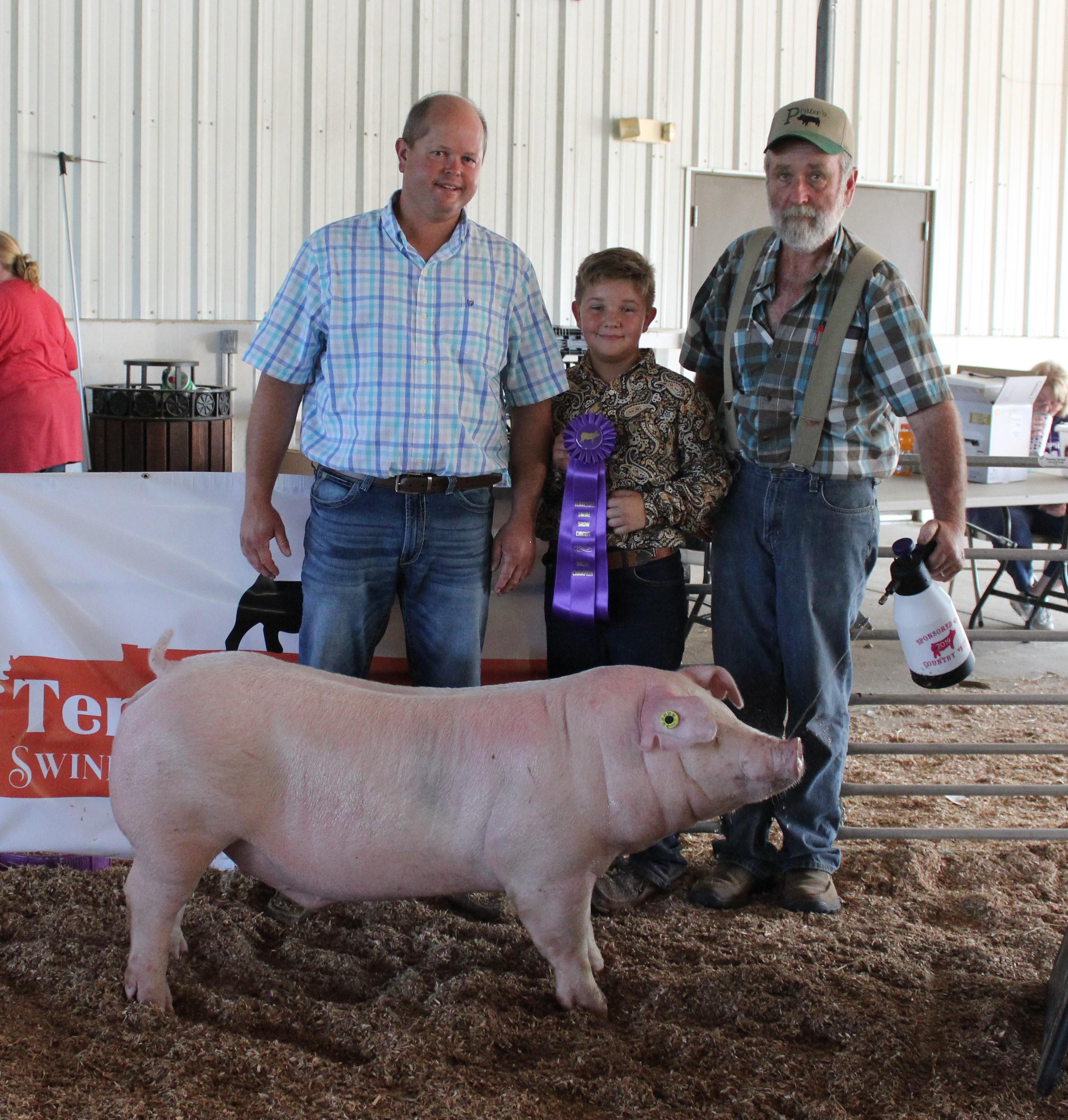 Brooks Peterson Smith County Swine Shootout Champion Chester White Barrow