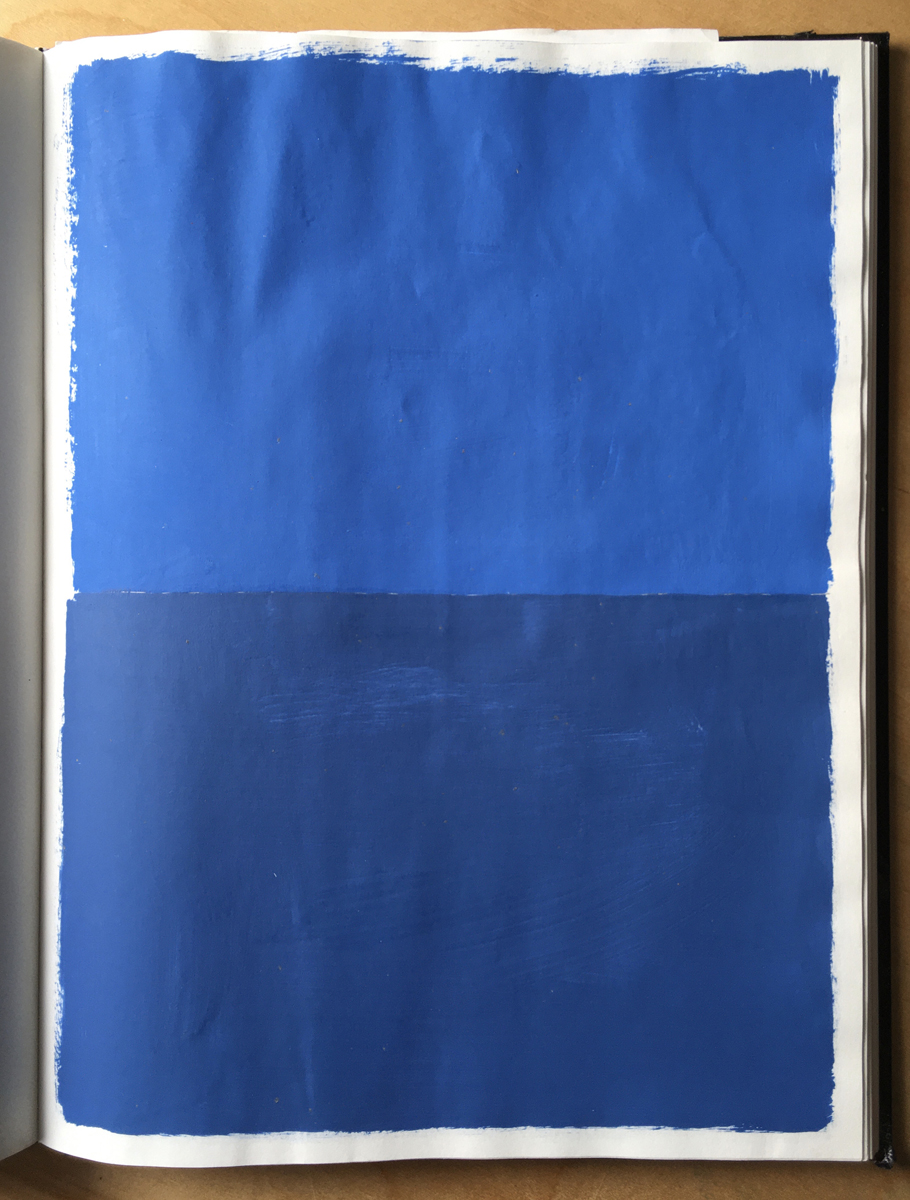 A sketchbook page with a minimalist painting of two shades of blue, stacked.