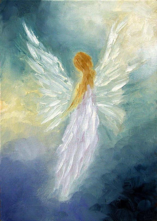 """Angel - 5""""x 7"""" Oil on Stretched Canvas  SOLD Greeting card available"""