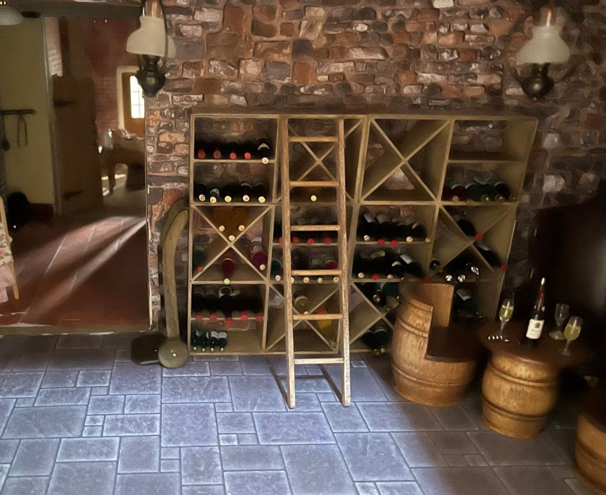 Wine Cellar All Rooms were Decorated,  Furnished and Photographed by Jackie, the Owner/Collector