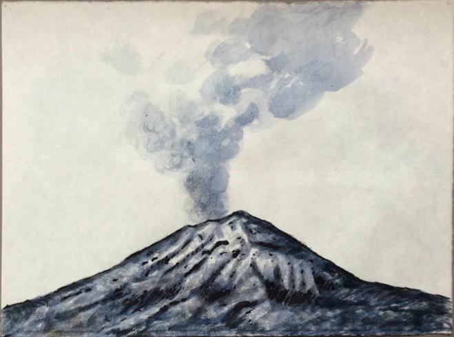 Popocatépetl Acuarela sobre papel japonés 10 x 11 pulgadas