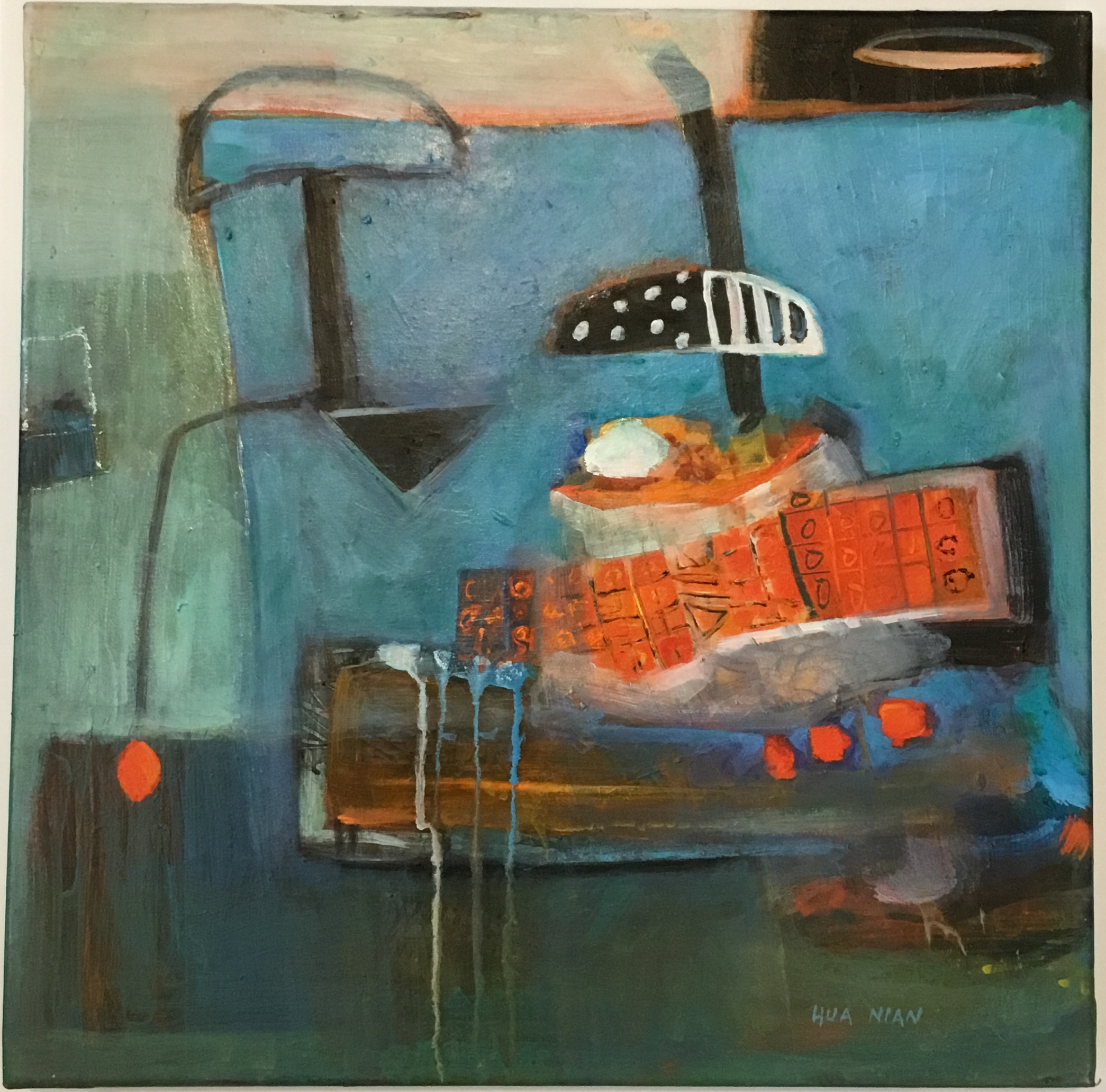 """Wizard's Boat acrylic on canvas 18"""" X 18"""" $400."""