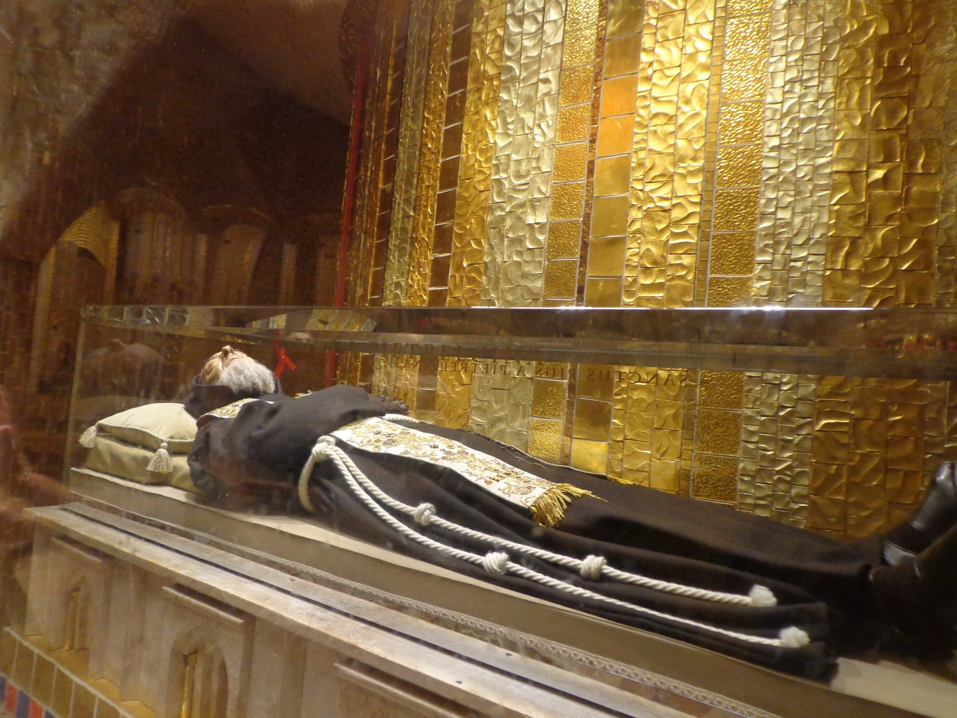 Saint Padre Pie incorrupt body at San Giovanni Rotundo