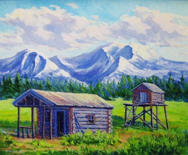 Rangers Cabin, Denali, Alaska, 20 x 24 Oil