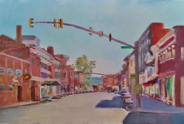 77. Frostburg, Main street,  6x9 oil on panel