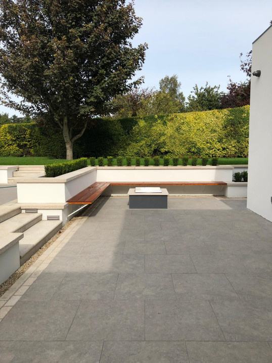 Gas Fire Pit and Built in Seating in Room to Improve Garden, Ashford