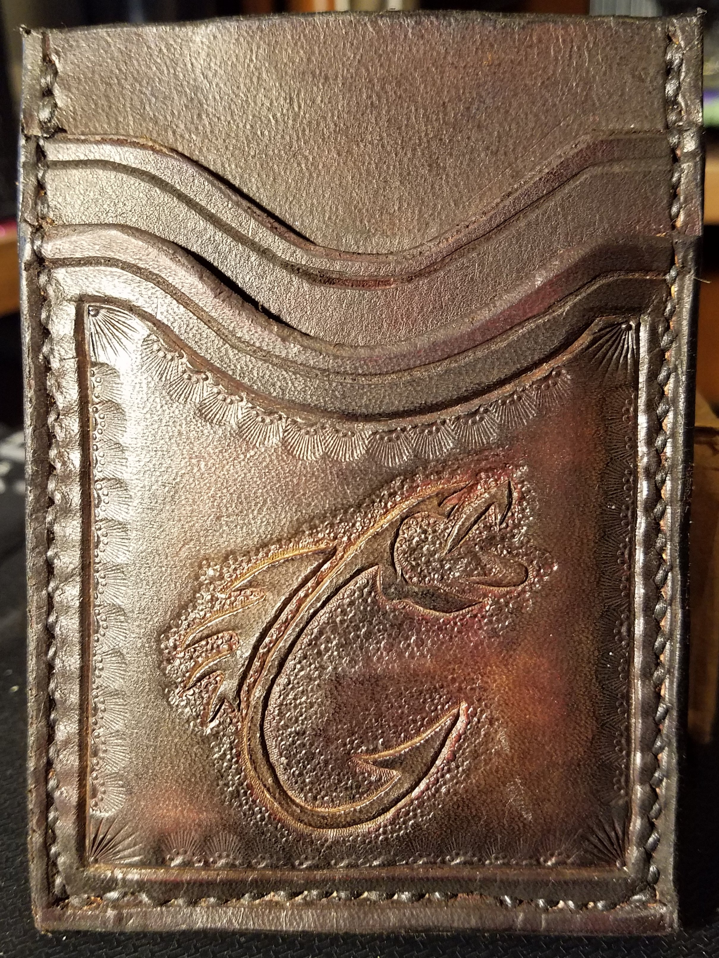 3 pocket minimalist wallet, hand tooled and stitched, $55.00