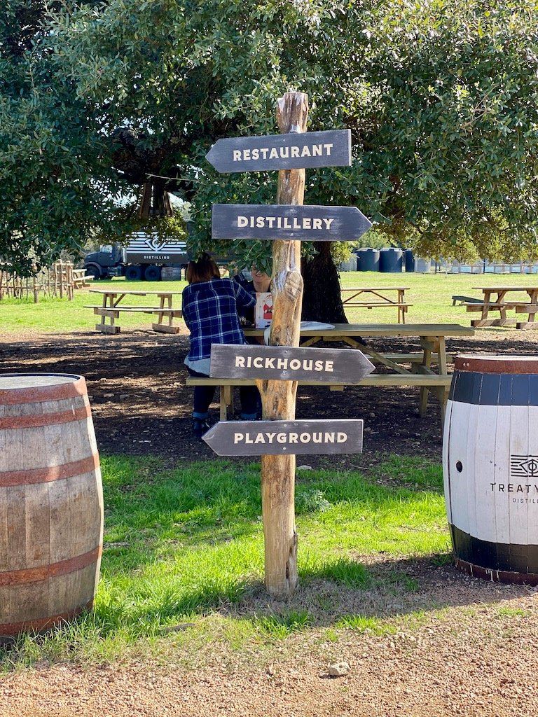 Treaty Oak Distilling Road Signs