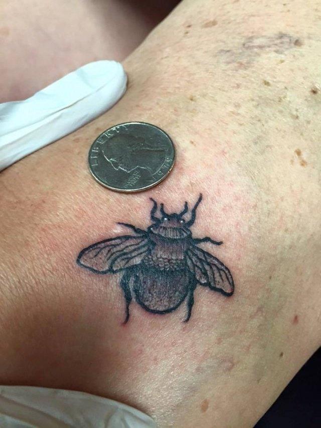 Miniature Bee Tattoo