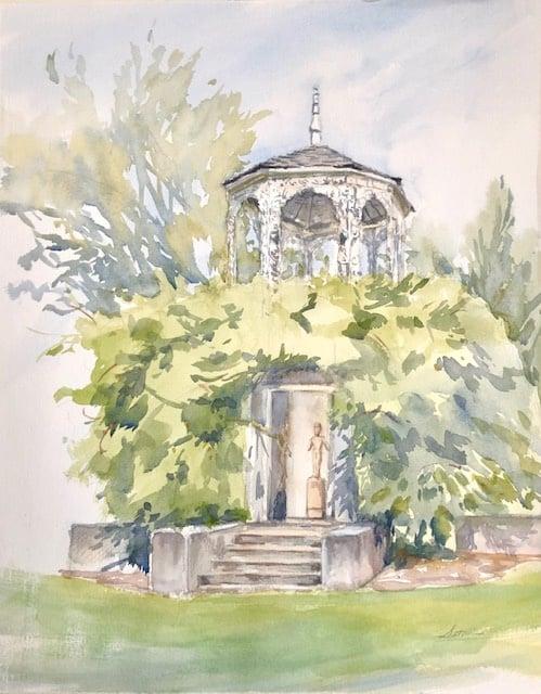 "Sanctuary in Allerton Watercolor 16.5 "" X 12.5"" $275."