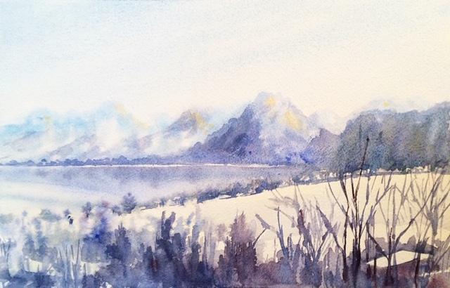 "Sankt Gilgen, Austria Watercolor 11.5"" X 7.5"" $175."