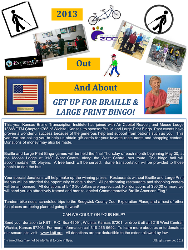Braille bingo flyer||||2013 Braille Bingo Poster