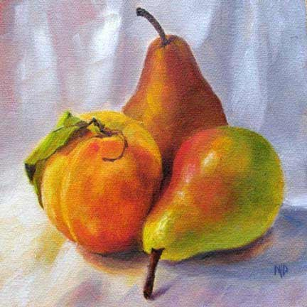 """Peach & Pears - 6""""x6"""" Oil on Canvas Panel  SOLD"""