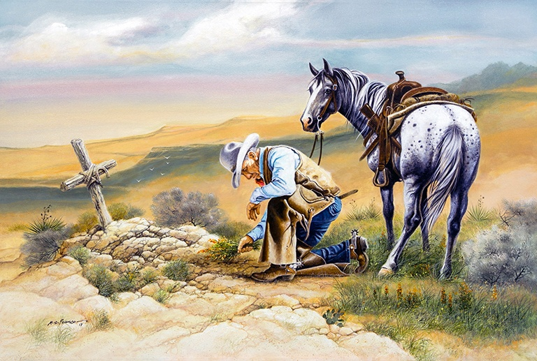 """ Tribute to a Missing Cowboy "" Image size 28 x 34"" Watercolor"