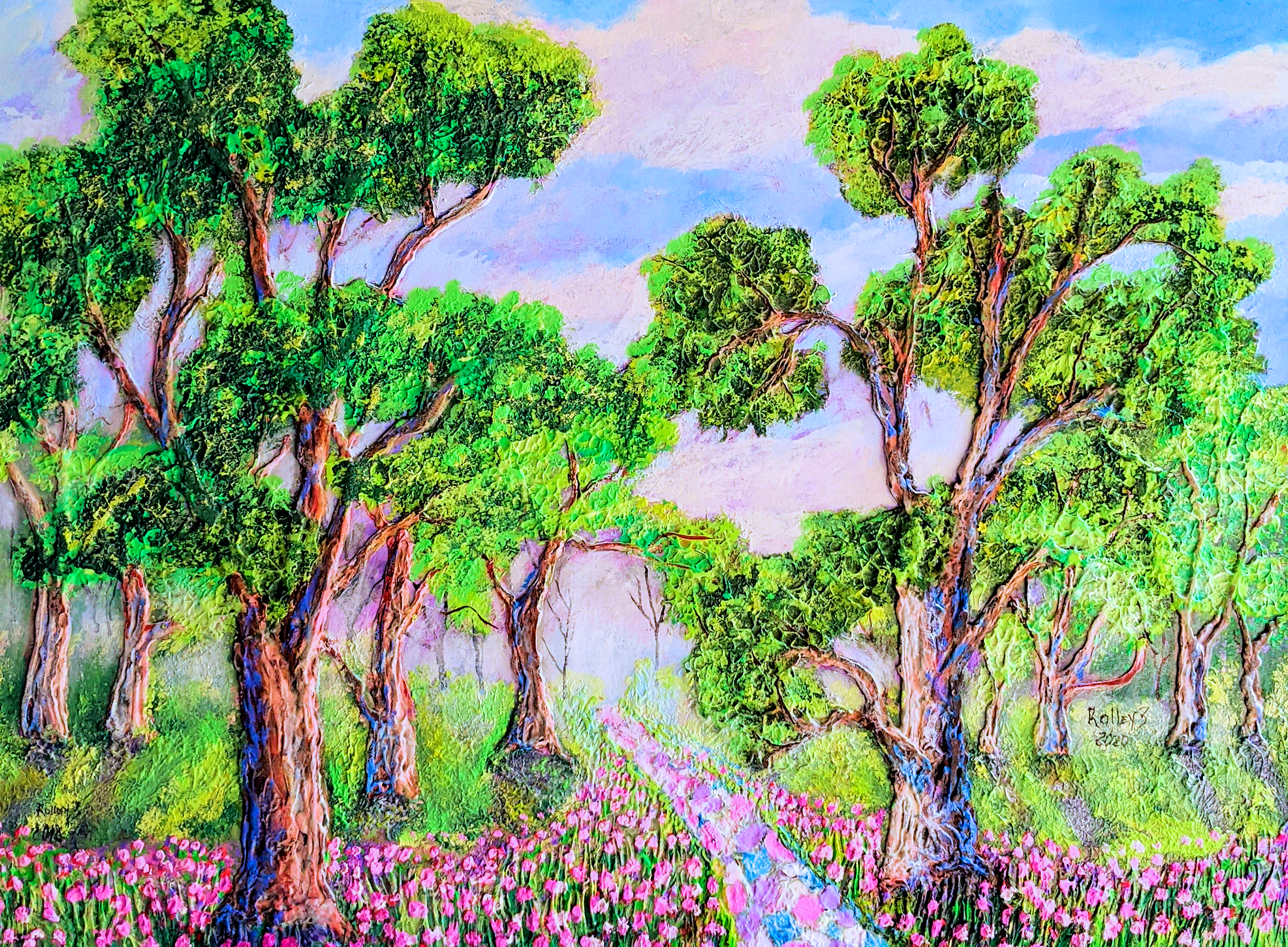 "SOFT WALK    30X40""    $1100   HIGHLIGHTED WITH GLOW IN DARK LUMINESCENT PAINT"