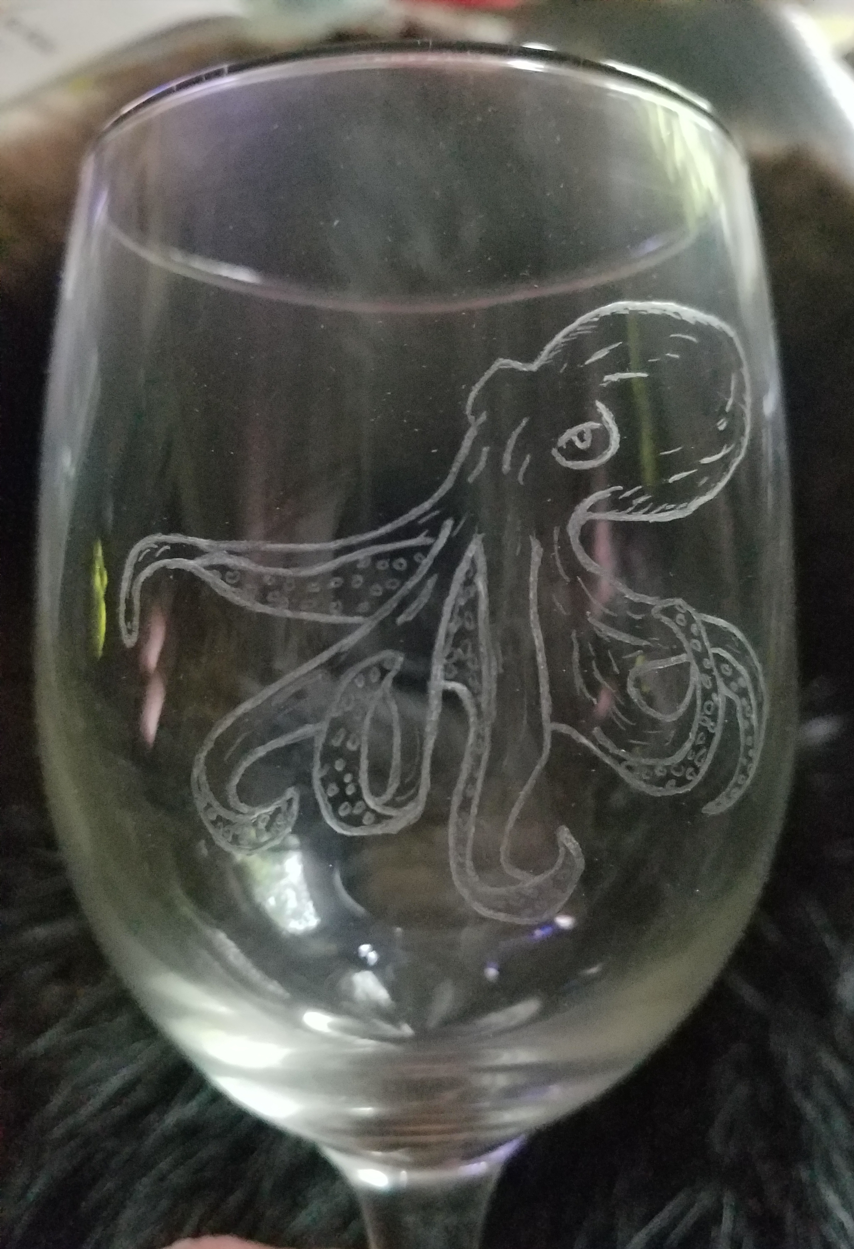 Octopus engraved wine glass... $40.00 ea