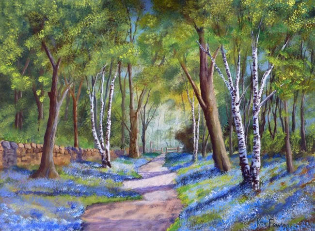 If Beacon Fell Had Bluebells. Acrylic on board .......... Sold