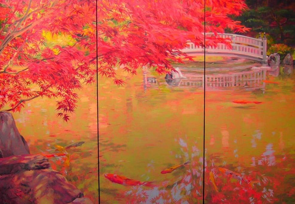 Japanese Garden Triptych 48x72