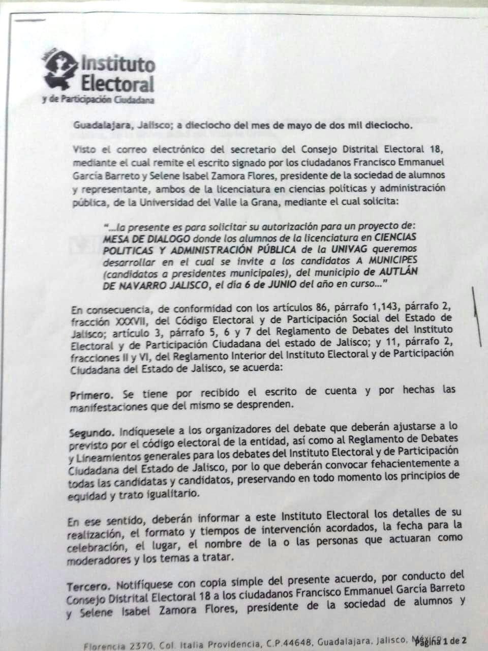 Primer debate de candidatos a Presidente Municipal de Autlán de Navarro, Jalisco