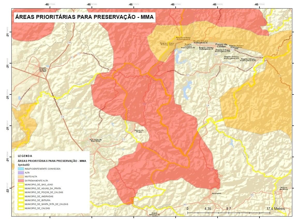 Áreas Prioritárias para Preservação definidas pelo Ministério do Meio Ambiente.