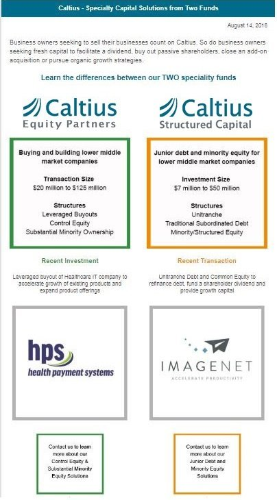 Caltius Equity & Structured Capital Email Campaign
