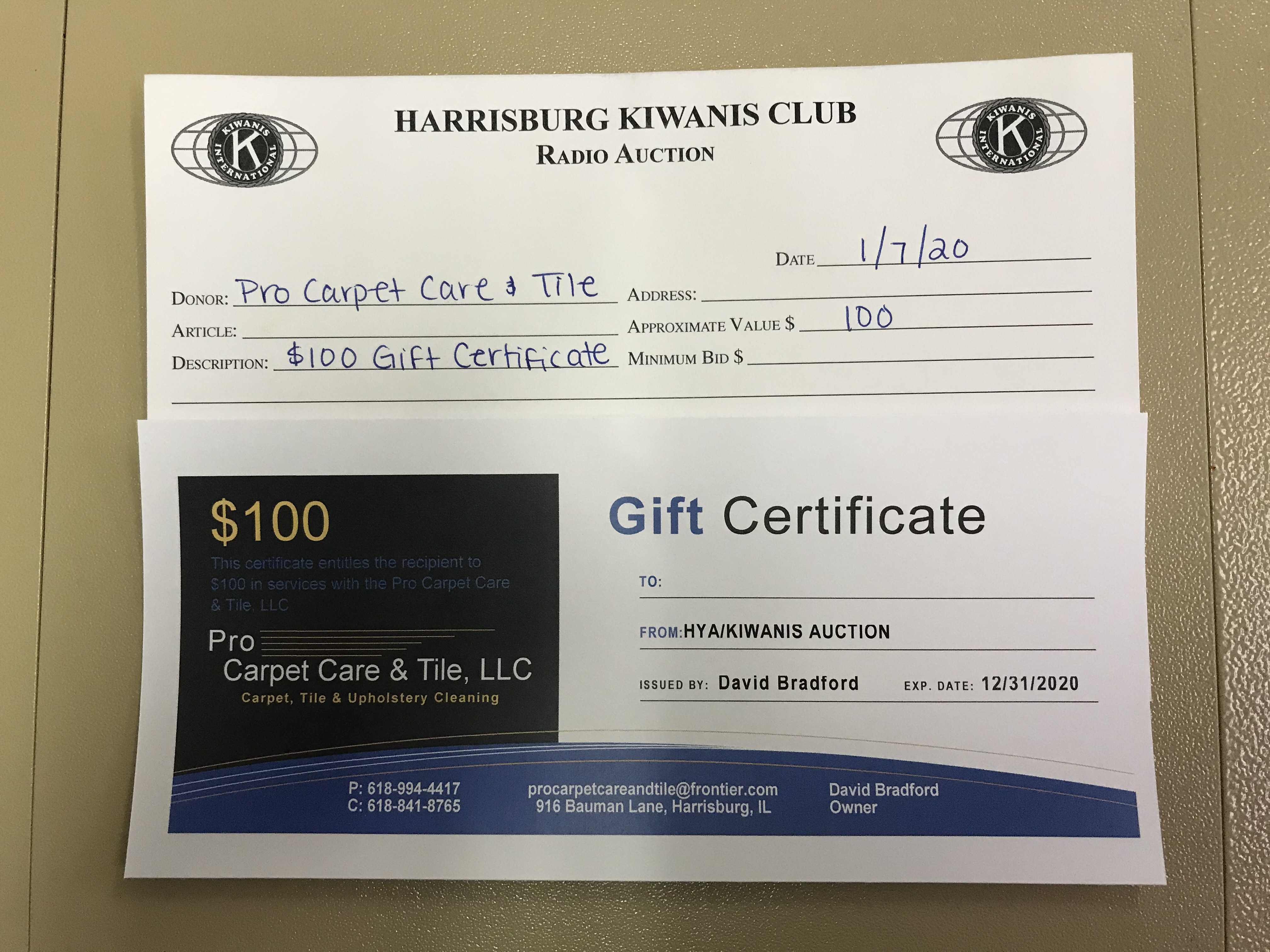 Item 335 - Pro Carpet Care & Tile $100 Gift Certificate