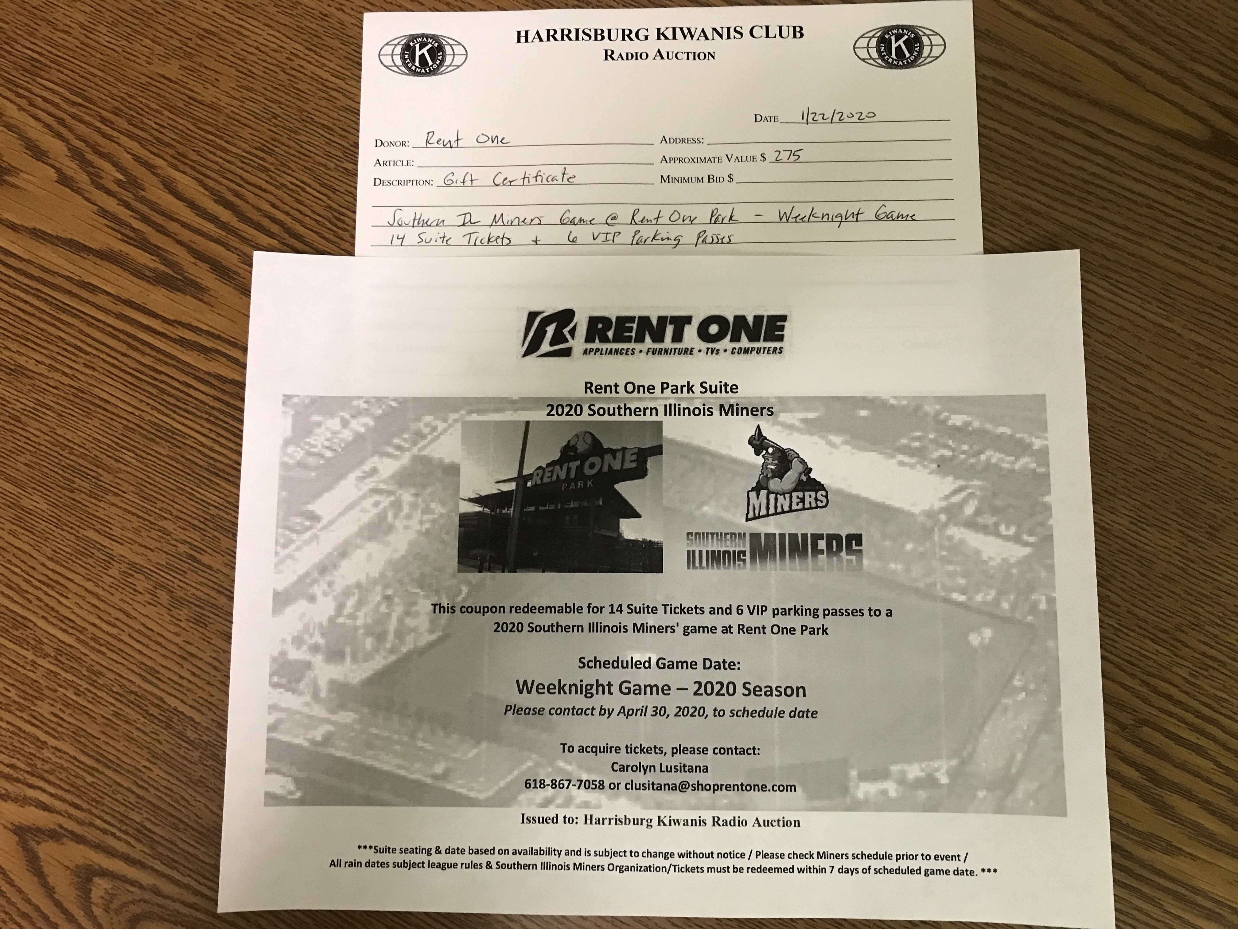 Item 506 - Rent One Southern IL Miners Weeknight Game - 14 Suite Tickets and 6 VIP Parking Passes