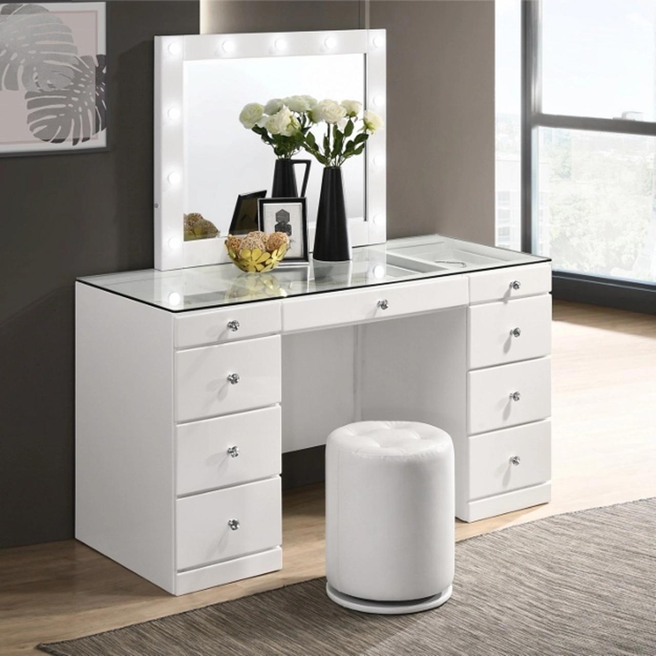B4850WHSET Avery Vanity Desk Set White