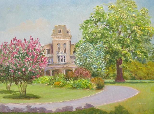 24. Cylburne Mansion, Cylburne Arboretum,  Baltimore, 9x12 oil on panel