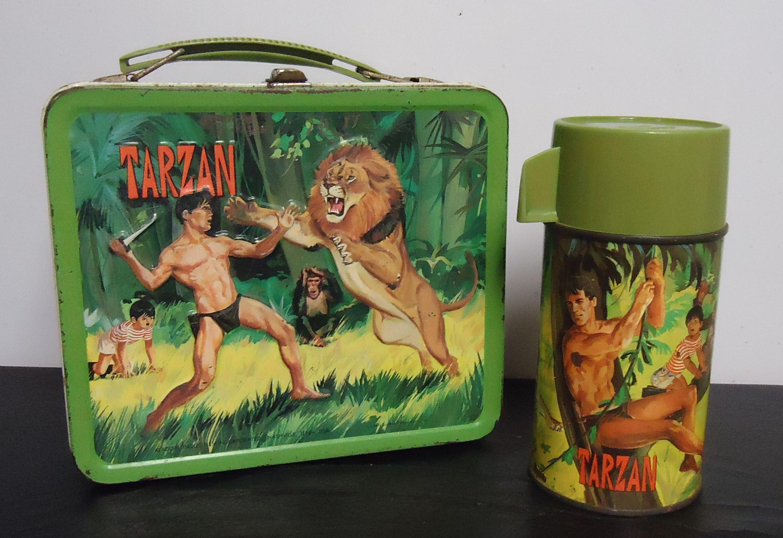 "(4) ""Tarzan"" Metal Lunch Box W/ Thermos $150.00"