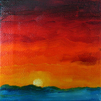 """Sunset ~ 3"""" x 3"""" Oil on Stretched Canvas  $39"""