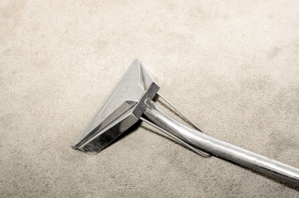 Steam carpet cleaning wand on carpeting