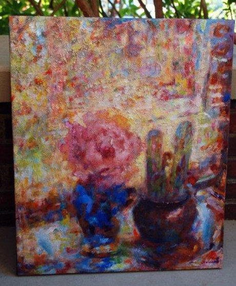 """Peony and Cacti 20"""" X 24"""" Oil on Canvas $250"""