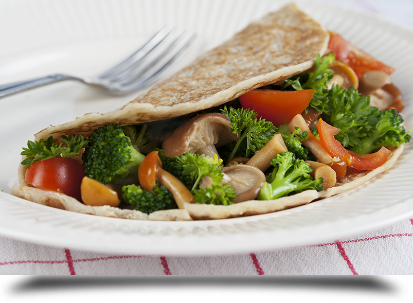 Veg wrap in plate||||
