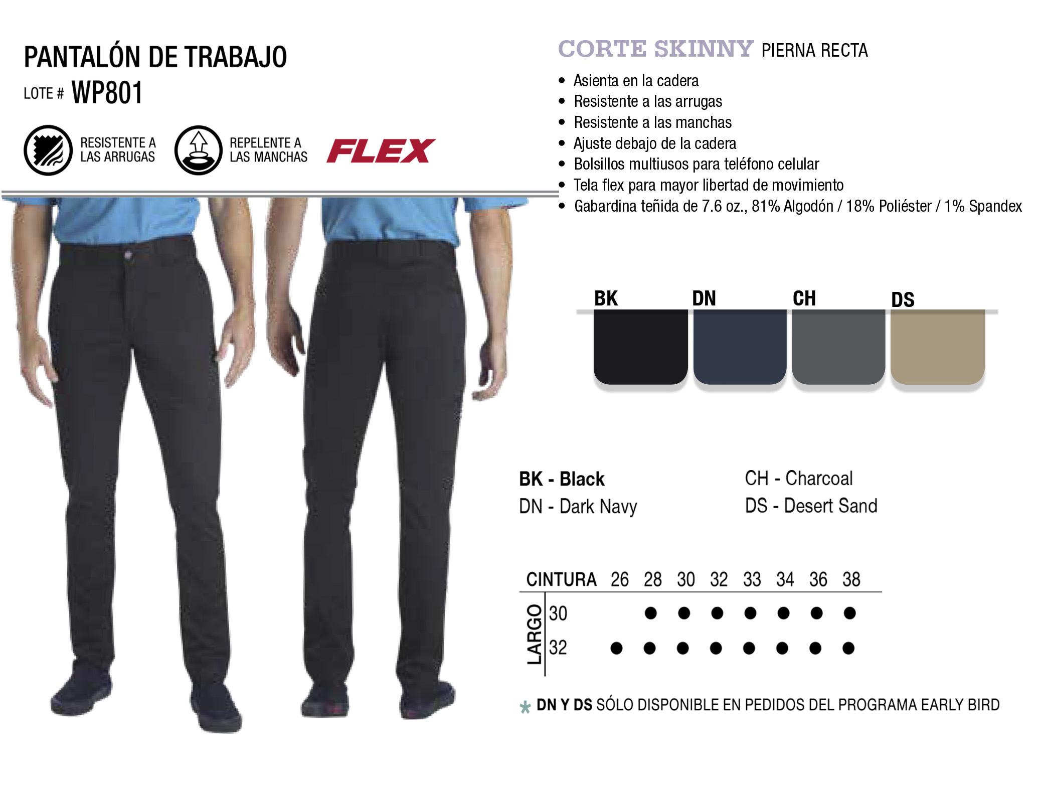 Pantalón de Trabajo.  Corte Skinny. WP801.