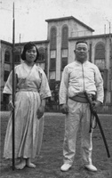 "In April 1954 Nakamura sensei devised a series of Sword v. Spear techniques based on his experience with bayonet training. At that time Nakamura sensei was the All Japan Champion in bayonet fencing.  His daughter Kyoko was sensei's training partner and was skilled with the spear.  The Japanese equivalent of ""Life"" magazine did a cover story on the father-daughter martial arts team."