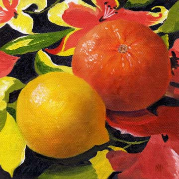 """Lemon And Orange"" - 6""x6"" Oil On Canvas Panel  SOLD"