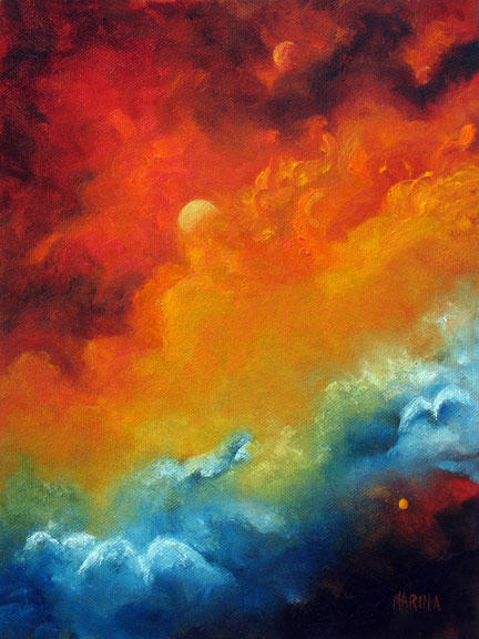 """Cosmic Fire - 8""""x10""""  Oil on Stretched Canvas   SOLD"""