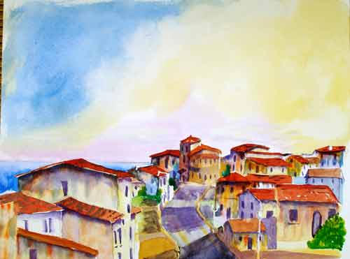 Spanish Rooftops ....... Watercolour