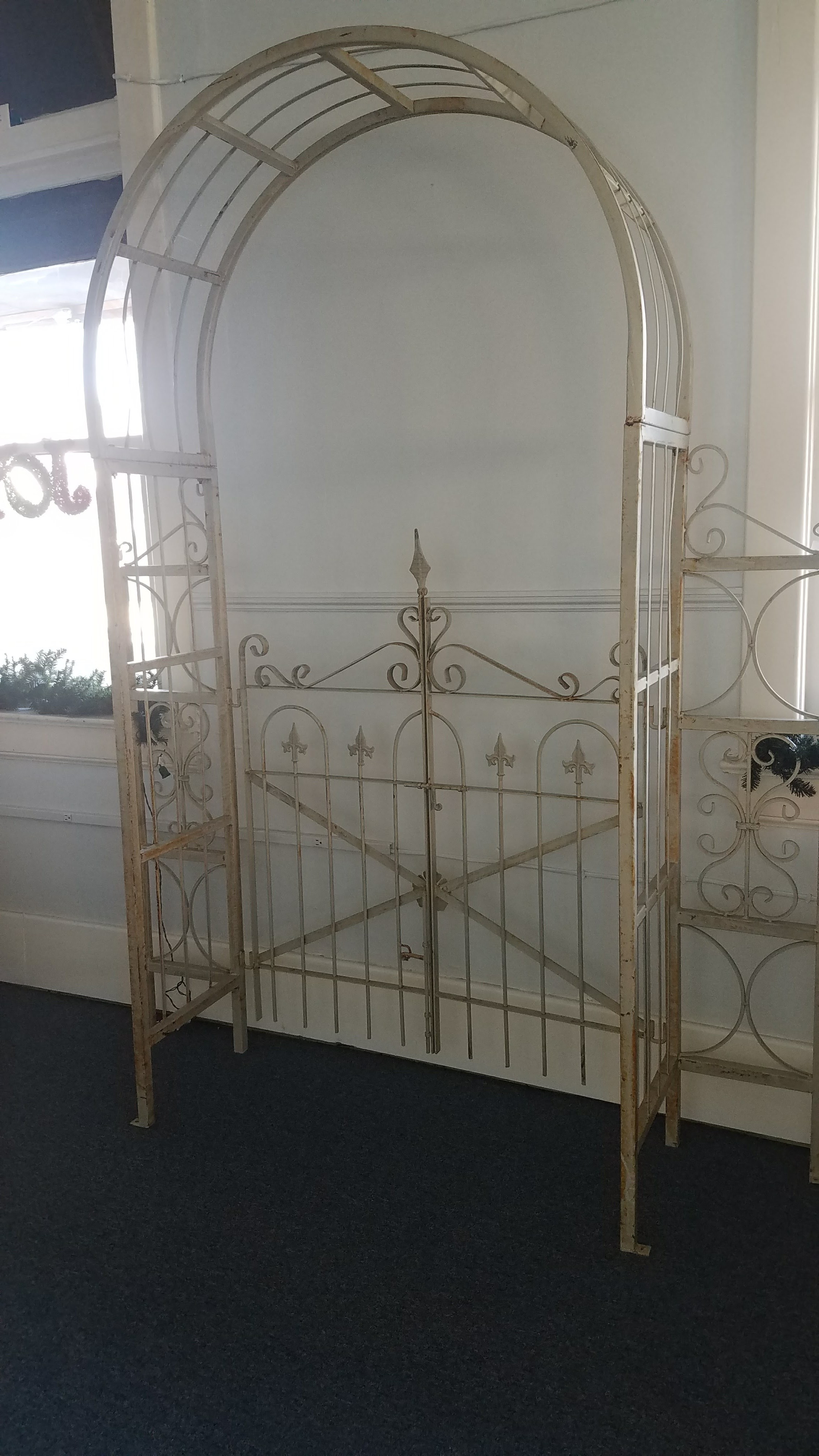 Garden Arbor with Gate Avail in Cream or Green $50 / Day