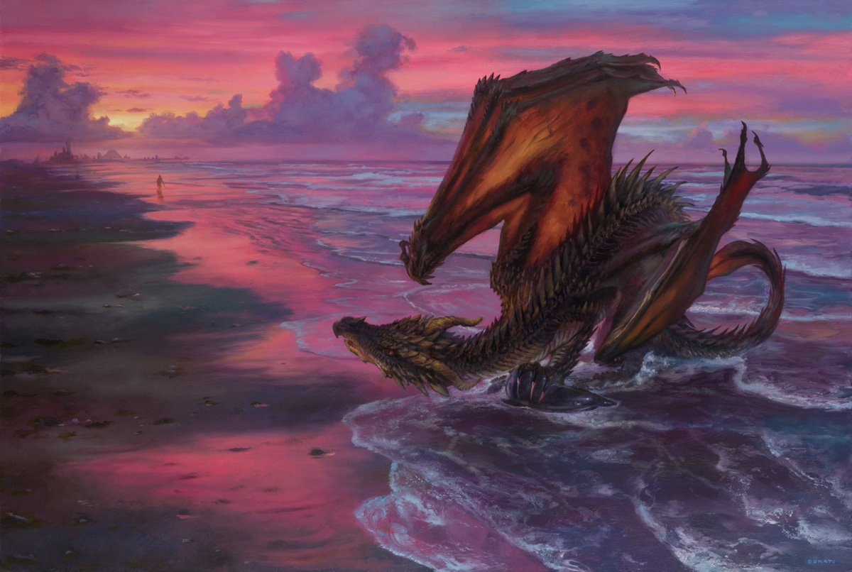 "Drogon and Daenerys at Slaver's Bay 20"" x 30"" Oil on Panel 2018 from A Song of Ice and Fire by George R.R. Martin private collection"