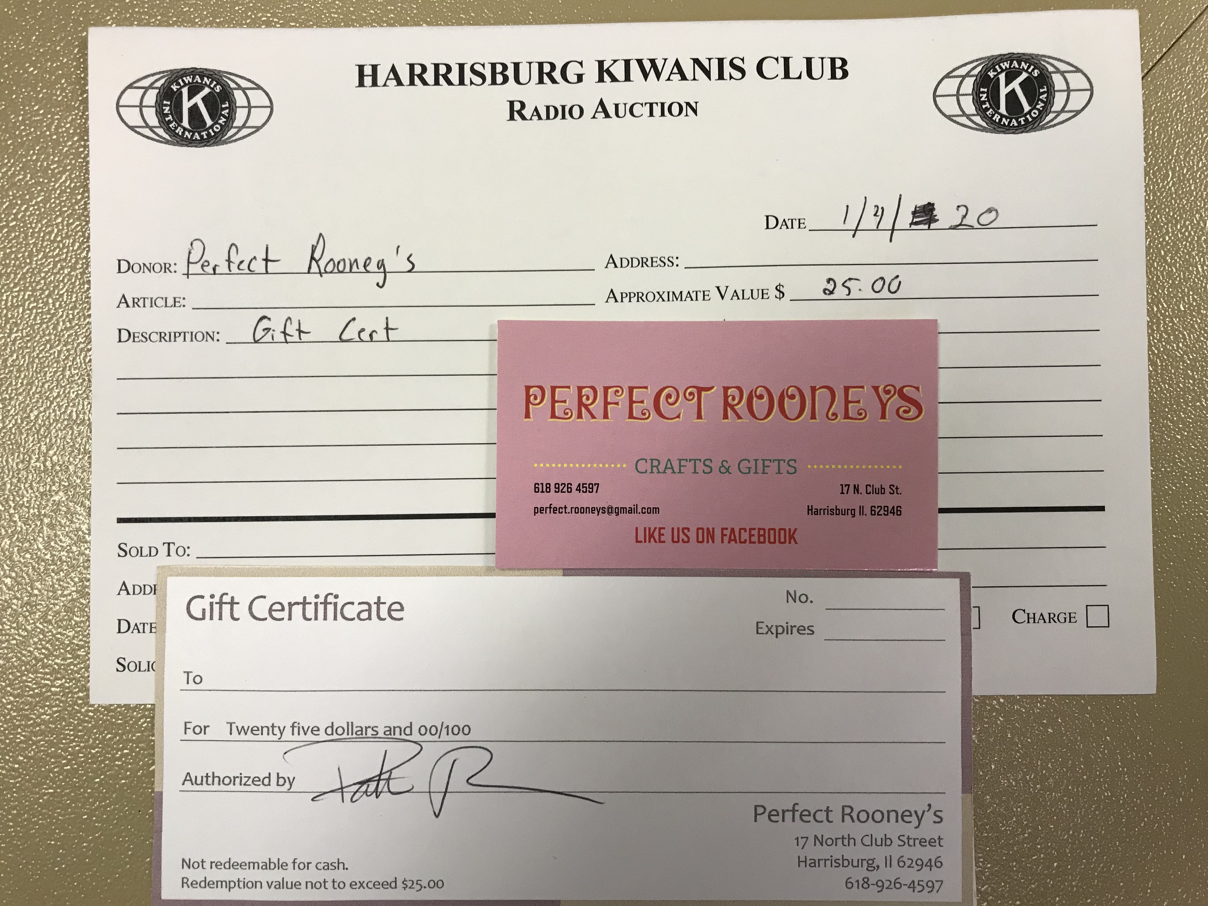 Item 205 - Perfect Rooney's $25 Gift Certificate
