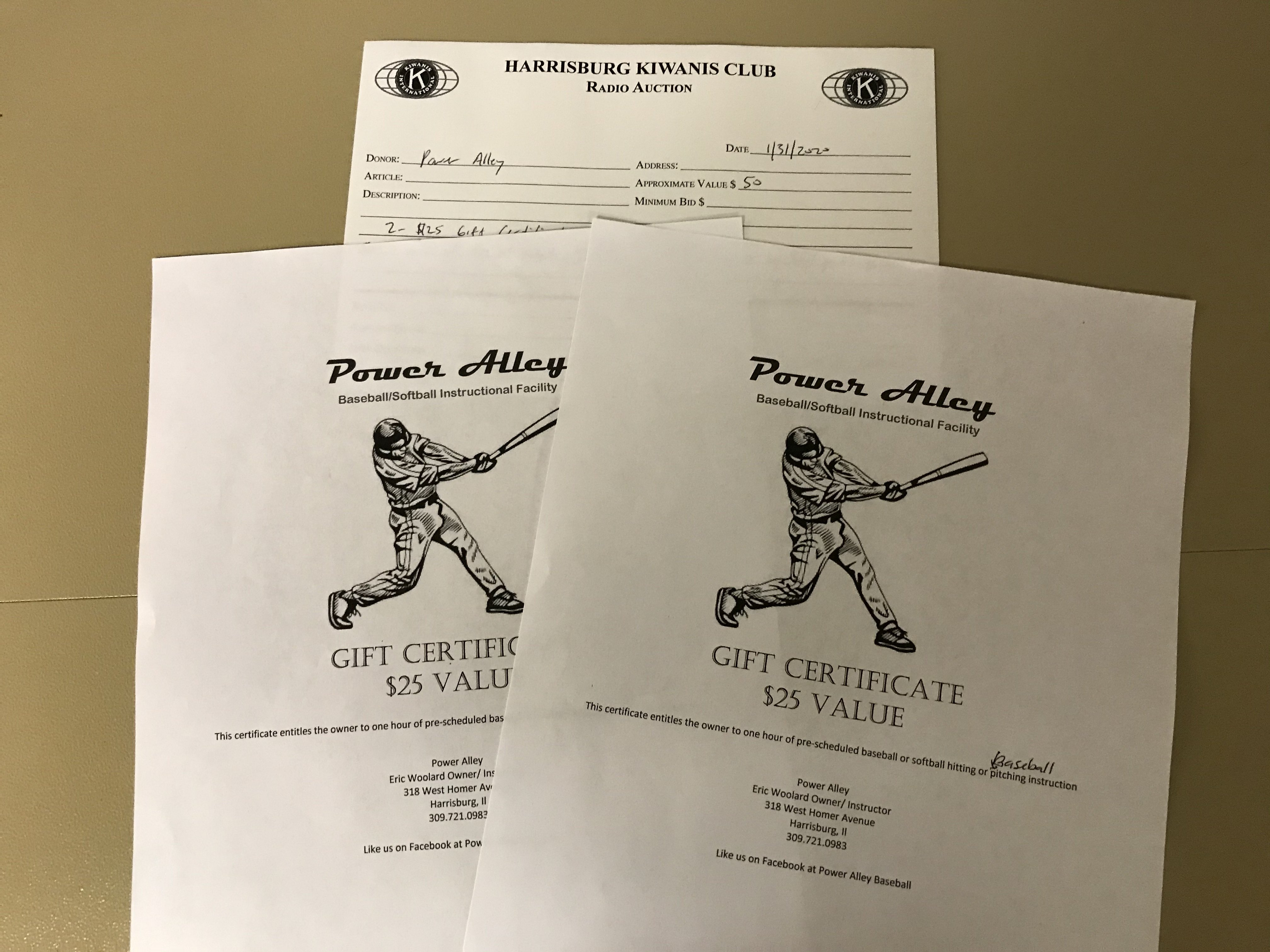 Item 438 - Power Alley 2 - $25 Gift Certificates for 1 hour of instruction each