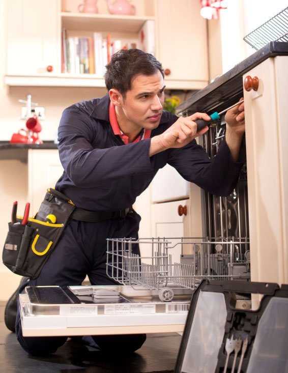 Man installing dishwasher