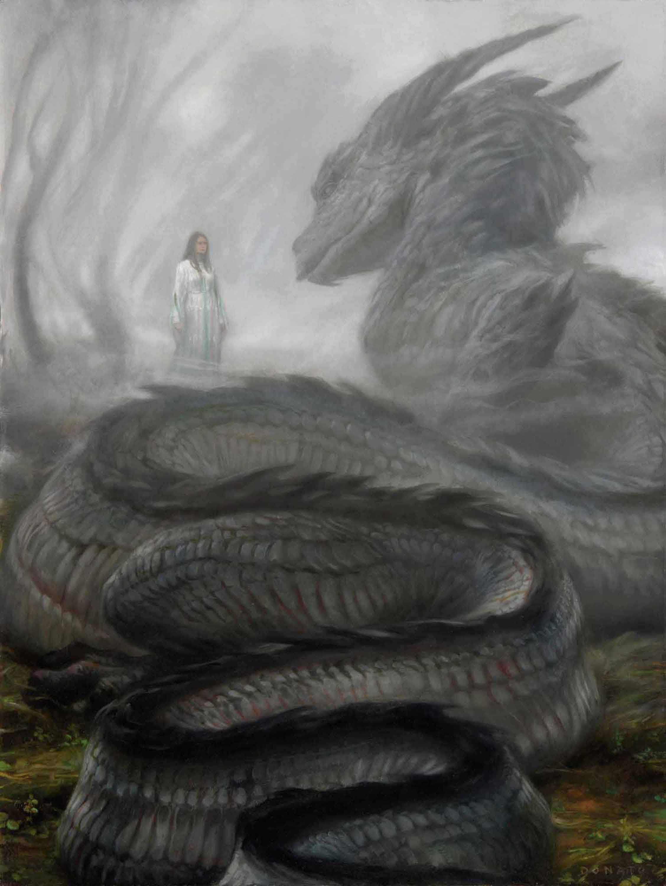 "Forgetfulness 24"" x 18""  Oil on Panel  2013 Nienor and Glaurung on the hill Amon Ethir collection of Chris Redlich"