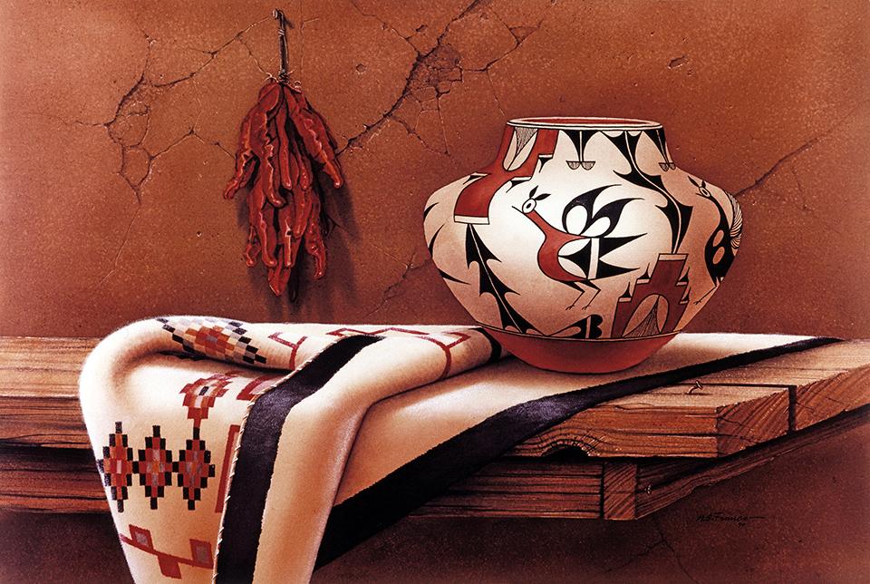 """ Pueblo Setting "" Edition 3000 S/N US $75 Image size 16"" X 24"""