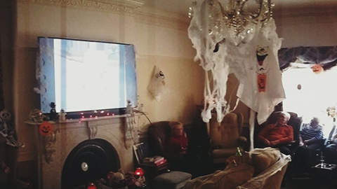 The lounge decorated for Halloween!