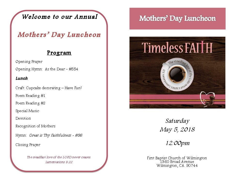 Annual Mother's Day Luncheon Program