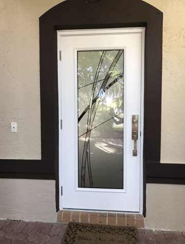 White Door With Decorative Glass